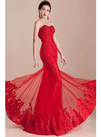 Trumpet/Mermaid Sweetheart Floor-Length Evening Dress With Beading