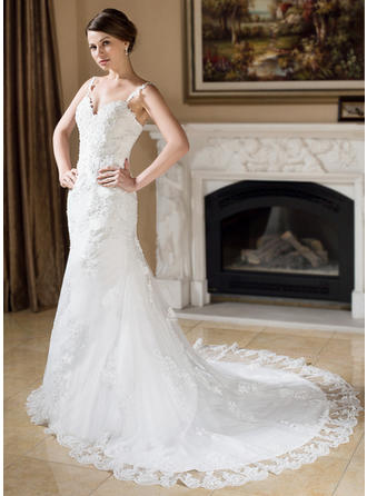 Beading Appliques Sleeveless Trumpet/Mermaid - Tulle Wedding Dresses