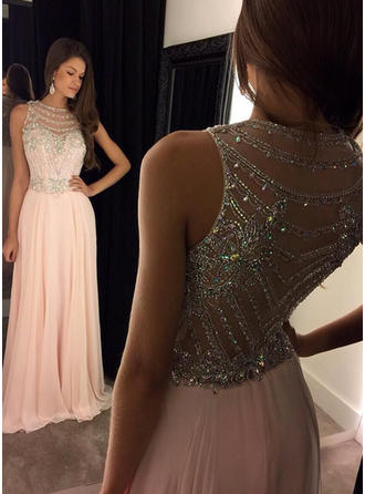 A-Line/Princess Scoop Neck Sweep Train Chiffon Evening Dresses With Beading Sequins