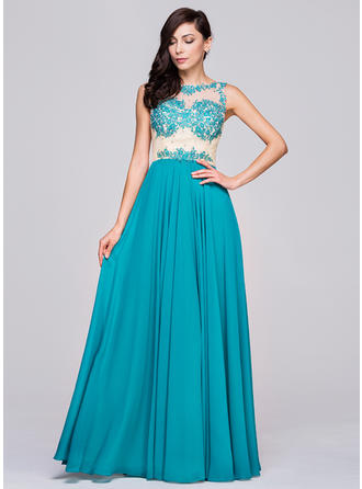 Chiffon Sleeveless A-Line/Princess Prom Dresses Scoop Neck Beading Appliques Lace Sequins Floor-Length