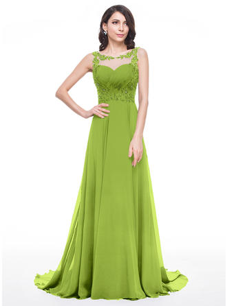 A-Line/Princess Chiffon 2019 New Court Train Scoop Neck Sleeveless