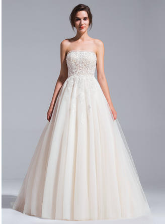 Strapless Ball-Gown Wedding Dresses Tulle Beading Appliques Lace Sequins Sleeveless Cathedral Train