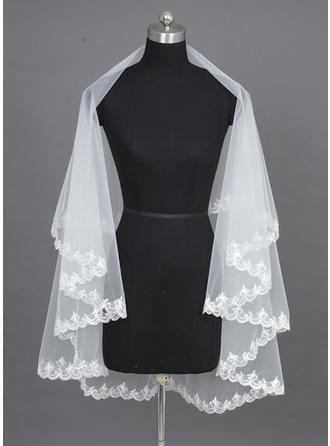 Ett Nivåer Waltz Brud Slöjor med Spetskant