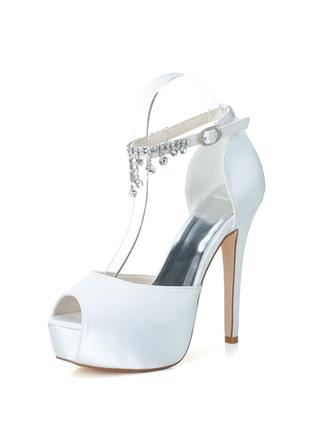 Women's Peep Toe Platform Pumps Sandals Stiletto Heel Satin With Rhinestone Wedding Shoes