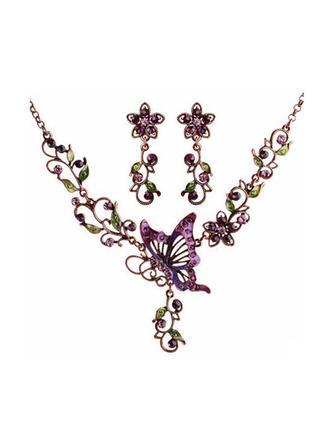 Fjärilsformade Legering/Tjeckiska Stones/Färgad Glasyr Damer' Smycken Sets