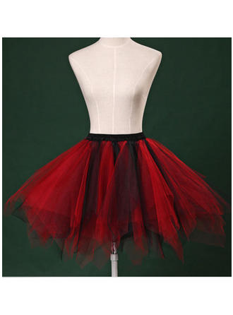 Bustle Short-length Tulle Netting/Satin Short Flare Slip 2 Tiers Petticoats
