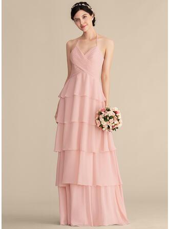 Vestidos princesa/ Formato A Amada Longos Tecido de seda Vestido de madrinha com Babados em cascata