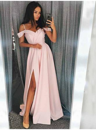 Charmeuse Sleeveless A-Line/Princess Prom Dresses Sweetheart Ruffle Split Front Sweep Train