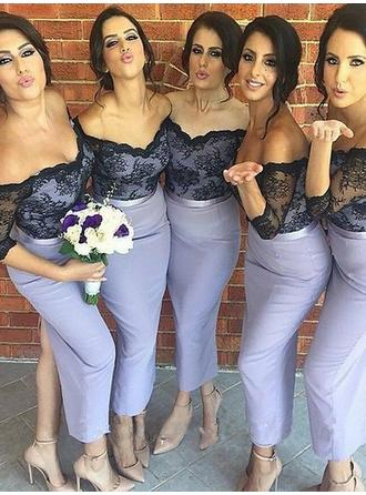 Trumpet/Mermaid Satin Bridesmaid Dresses Off-the-Shoulder 3/4 Sleeves Ankle-Length