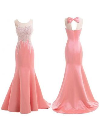 Trumpet/Mermaid Satin Bridesmaid Dresses Ruffle Beading Scoop Neck Sleeveless Sweep Train