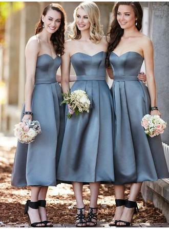 A-Line/Princess Sweetheart Sleeveless Tea-Length Satin Bridesmaid Dresses