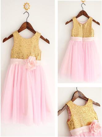 Scoop Neck A-Line/Princess Flower Girl Dresses Tulle/Sequined Flower(s) Sleeveless Knee-length