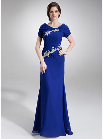 A-Line/Princess Scoop Neck Floor-Length Chiffon Mother of the Bride Dress With Ruffle Beading Appliques Lace Sequins