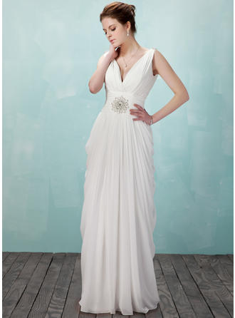 Sheath/Column V-neck Floor-Length Evening Dresses With Ruffle Beading