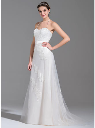 Fashion Sweep Train A-Line/Princess Wedding Dresses Halter Tulle Sleeveless
