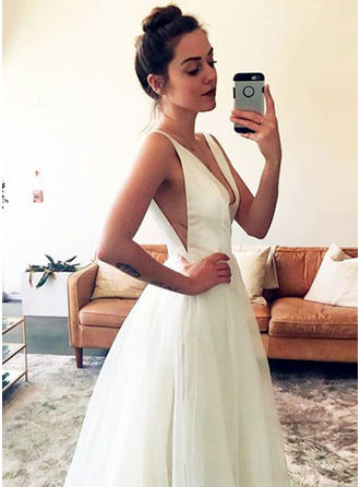 A-Line/Princess Deep V Neck Floor-Length Sweep Train Wedding Dress