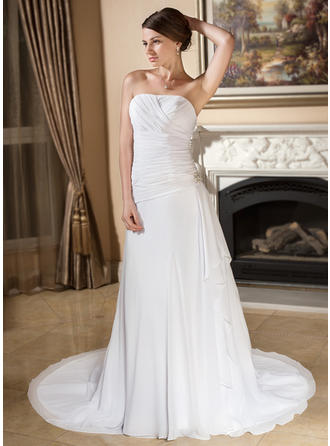 A-Line/Princess Court Train Wedding Dress With Crystal Brooch Cascading Ruffles