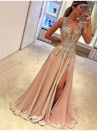 A-Line/Princess V-neck Chiffon Sleeveless Floor-Length Appliques Lace Evening Dresses