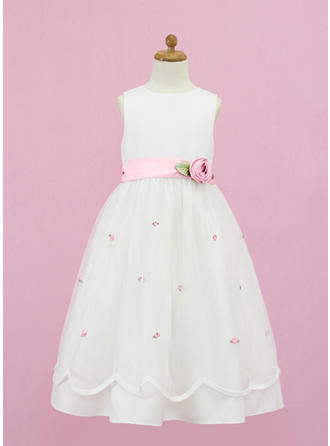 Modern Scoop Neck A-Line/Princess Organza/Satin Flower Girl Dresses