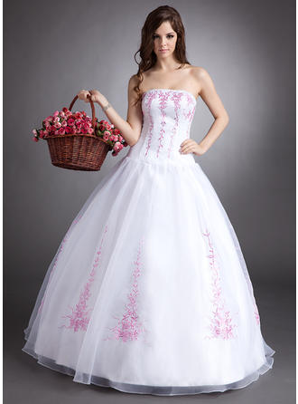 Ball-Gown Organza Chic Floor-Length Strapless Sleeveless