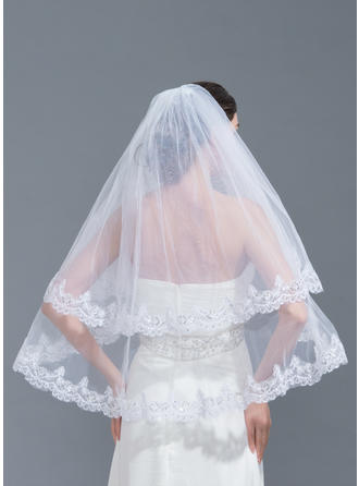 Two-tier Lace Applique Edge Elbow Bridal Veils With Applique