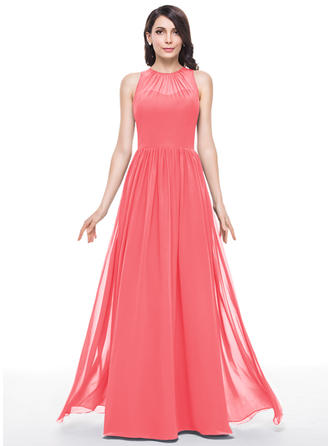 Chiffon Sleeveless A-Line/Princess Bridesmaid Dresses Scoop Neck Ruffle Floor-Length