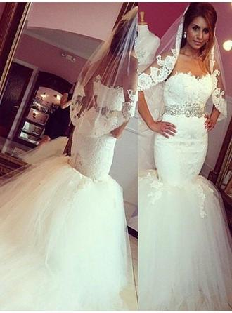 Trumpet/Mermaid Sweetheart Court Train Wedding Dress With Sash (002210862)
