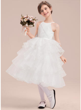 A-Line/Princess Scoop Neck Tea-length With Beading/Flower(s) Organza/Satin/Tulle Flower Girl Dress
