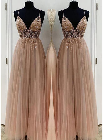 Simple Tulle Prom Dresses A-Line/Princess Floor-Length V-neck Sleeveless