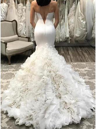 Trompete/Sereia Coração Cauda de sereia Vestido de noiva com Pregueado