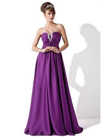 Empire Sweetheart Floor-Length Satin Chiffon Evening Dress With Ruffle Beading