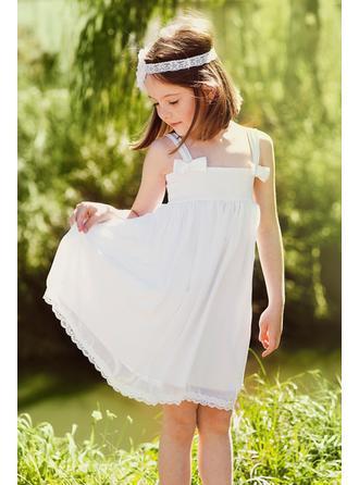 A-Line/Princess/Sheath/Column Square Neckline Knee-length With Bow(s) Chiffon Flower Girl Dress