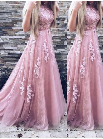 A-Line/Princess Scoop Neck Sweep Train Prom Dress With Appliques Lace