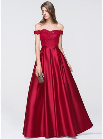 A-Line/Princess Off-the-Shoulder Floor-Length Satin Evening Dress With Beading Sequins