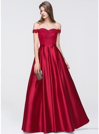 A-Line/Princess Off-the-Shoulder Floor-Length Satin Evening Dress With Beading Sequins