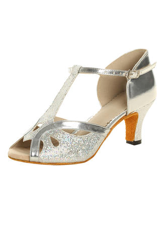 Women's Latin Heels Sandals Sparkling Glitter Patent Leather With T-Strap Dance Shoes