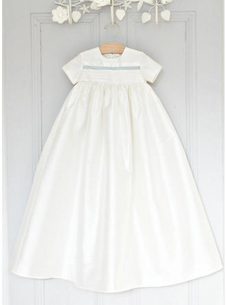 Scoop Neck A-Line/Princess Flower Girl Dresses Satin Short Sleeves Ankle-length (010216577)