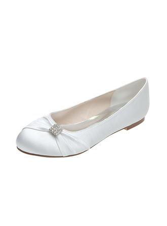 Frauen Geschlossene Zehe Flache Schuhe Flascher Absatz Satin mit Bowknot Strass Brautschuhe