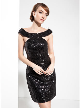Sheath/Column Off-the-Shoulder Sequined Sleeveless Knee-Length Cocktail Dresses