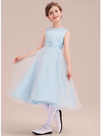 A-Line/Princess Tea-length Flower Girl Dress - Satin/Tulle Sleeveless Scoop Neck With Beading