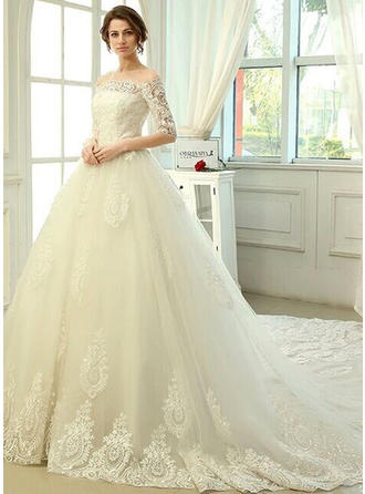 A-Line/Princess Off-The-Shoulder Cathedral Train Wedding Dress With Lace Appliques Lace