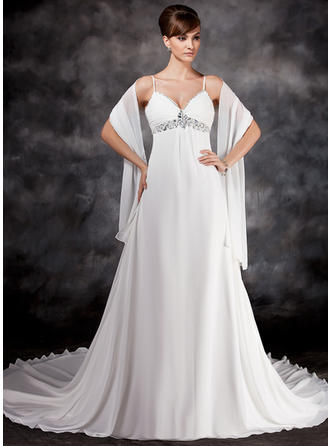 Chiffon Empire Chapel Train Sweetheart Wedding Dresses