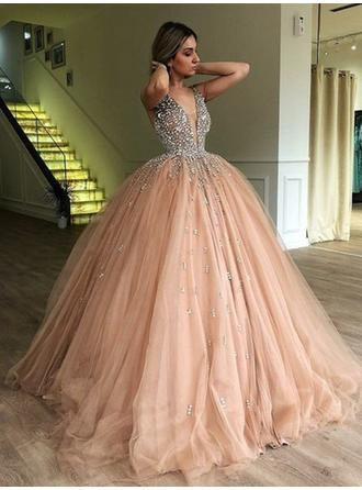 Princess Tulle Prom Dresses Ball-Gown Sweep Train V-neck Sleeveless