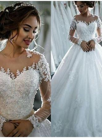Ball-Gown Scoop Cathedral Train Wedding Dress With Beading Appliques Lace Sequins
