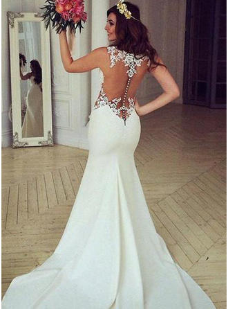 Satin Trumpet/Mermaid Chapel Train Scoop Wedding Dresses Sleeveless