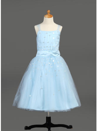 A-Line/Princess Tea-length With Ruffles/Sequins Satin/Tulle Sleeveless Flower Girl Dress