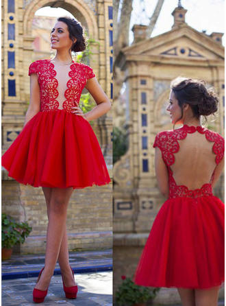 Fashion Tulle Homecoming Dresses A-Line/Princess Short/Mini V-neck Short Sleeves