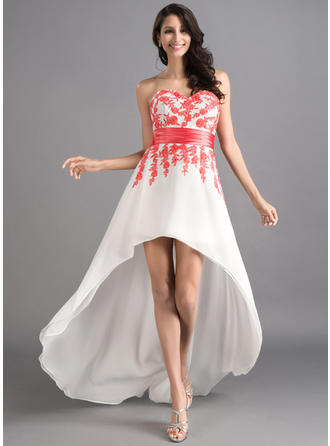 A-Line/Princess Sweetheart Asymmetrical Prom Dresses With Sash Appliques