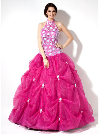 Ball-Gown Halter Floor-Length Organza Lace Prom Dress With Ruffle