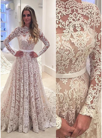 Glamorous Court Train A-Line/Princess Wedding Dresses Scalloped-Edge Lace Long Sleeves